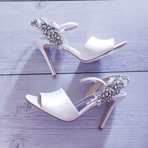 Badgley Mischka Lidia Crystal Wedding White Heels
